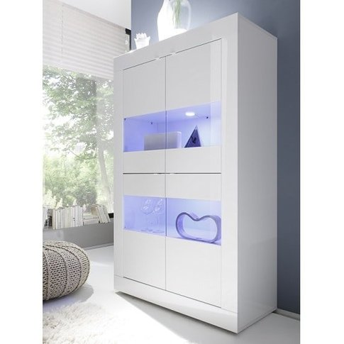 Taylor Display Cabinet In White High Gloss With 4 Do...