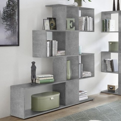 Taze Wooden Shelving Bookcase In Cement Effect