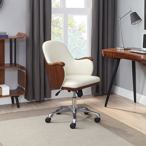 Terrence Faux Leather Office Chair In Cream And Waln...