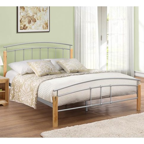 Tetras Steel Single Bed In Beech And Silver