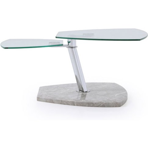 Tivoli Glass Coffee Table In Clear With Marble Grey ...