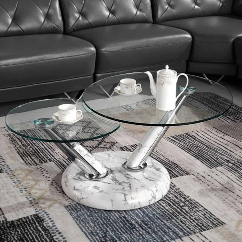 Tokyo Glass Coffee Table With High Gloss Marble Effe...