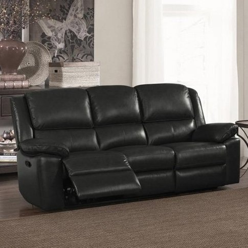 Toledo Leather And Pvc Recliner 3 Seater Sofa In Black