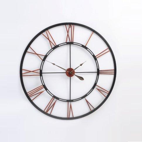 Toledo Vintage Metal Wall Clock In Rustic Look