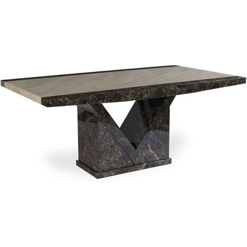 Topix Marble Effect Small Dining Table In Brown And ...