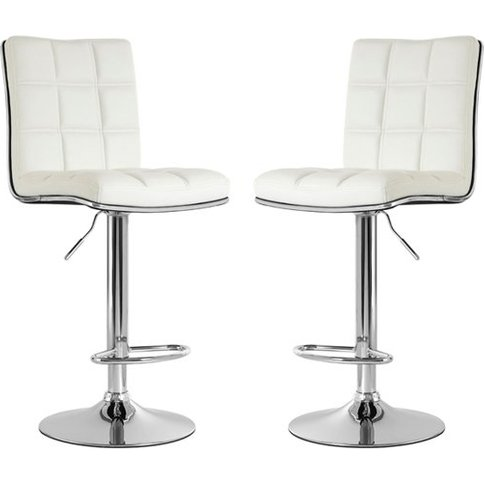 Treno White Faux Leather Gas Lift Bar Stools In Pair