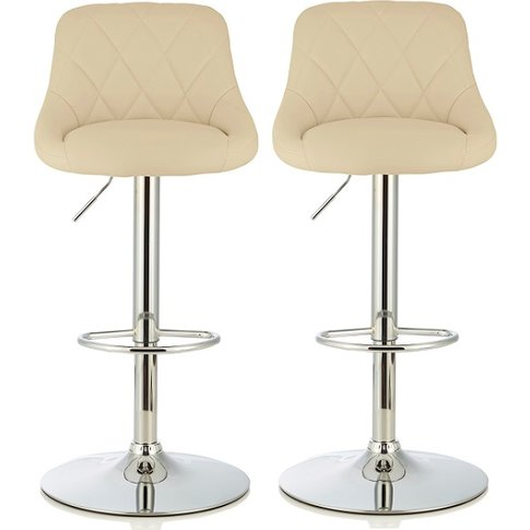 Trezzo Modern Bar Stool In Cream Faux Leather In A Pair