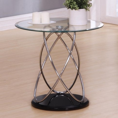 Trias Glass Lamp Table Round In Clear With Black Glo...