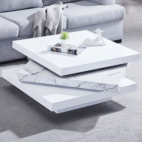Triplo White Gloss Rotating Square Coffee Table In V...
