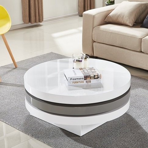 Triplo Rotating Coffee Table In White And Grey High ...