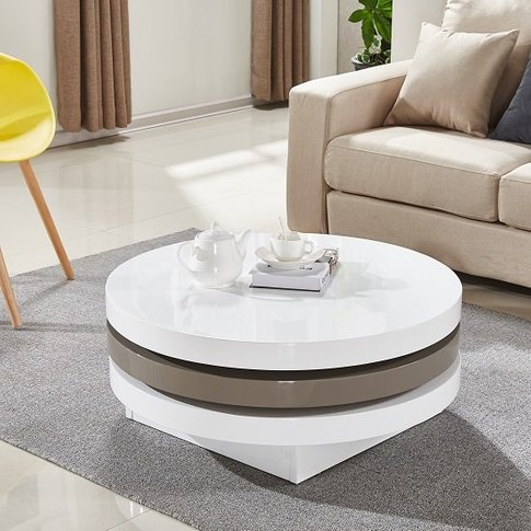 Triplo Rotating Coffee Table In White And Stone High...