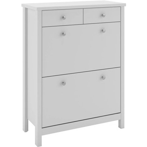 Tromso Shoe Storage Cabinet In White With 4 Drawers