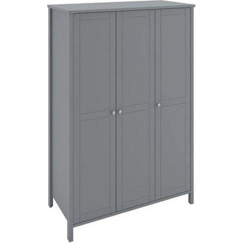 Tromso Wooden Wardrobe In Grey With 3 Doors