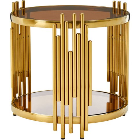 Tula Brown Glass Round Side Table With Tubular Base