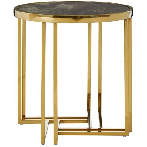 Tula Round Side Table In Gold With Marble Effect Top