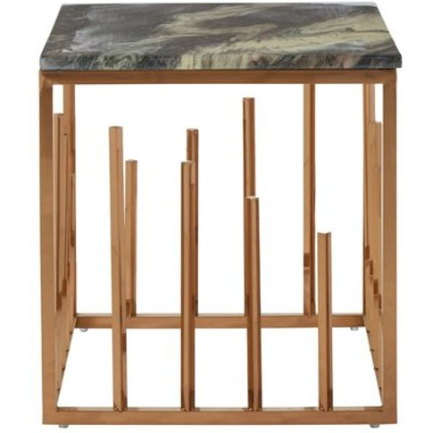 Tula Square Marble Top Side Table In Rose Gold