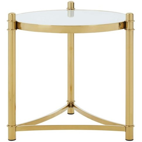 Tula White Tempered Glass Side Table With Gold Base
