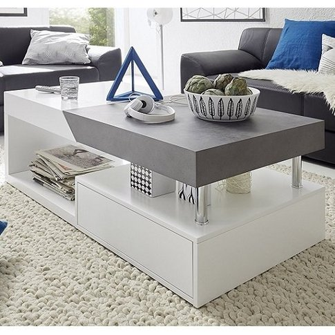 Tuna Extendable Coffee Table In Matt White And Concr...