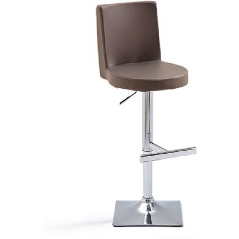 Twist Bar Stool Brown Faux Leather With Square Chrom...