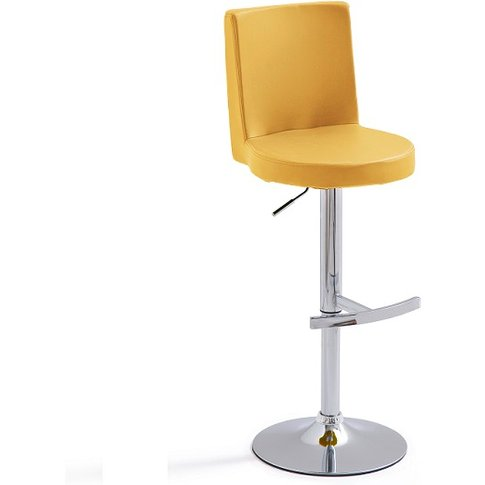 Twist Bar Stool Curry Faux Leather With Round Chrome...