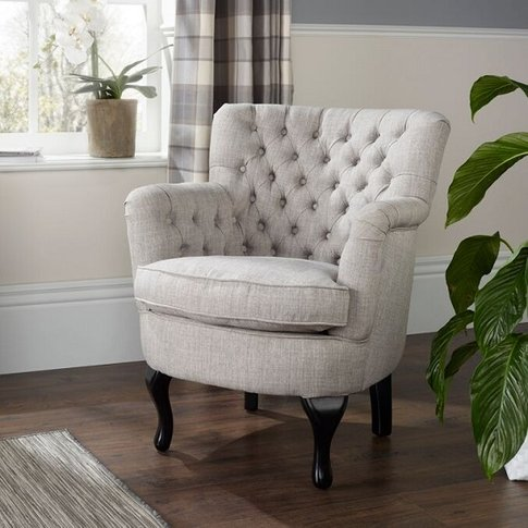 Upton Fabric Lounge Chair In Grey With Dark Wooden Legs