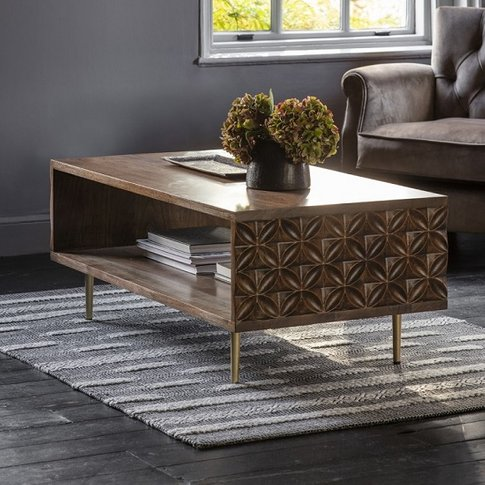 Urbino Coffee Table In Nutty Brown With Brushed Bass...