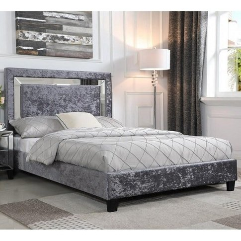 Valdina Double Bed In Crushed Velvet Silver With Mir...