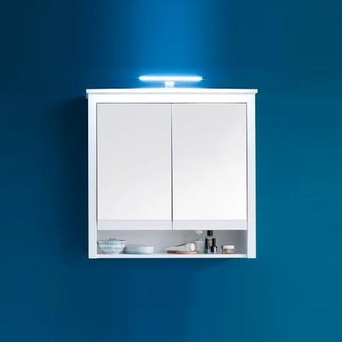 Valdo Mirrored Bathroom Wall Cabinet Wide In White W...