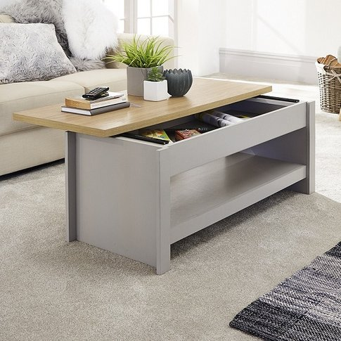 Valencia Wooden Coffee Table In Grey With Sliding Top