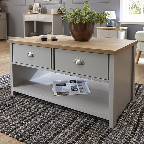 Valencia Wooden Coffee Table Rectangular In Grey Wit...