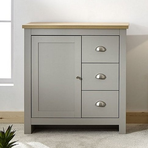 Valencia Wooden Storage Unit In Grey And Oak With 3 ...