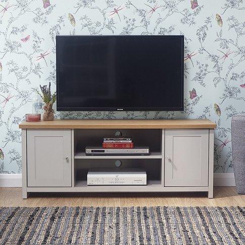 Valencia Wooden Tv Stand Rectangular In Grey With 2 Doors