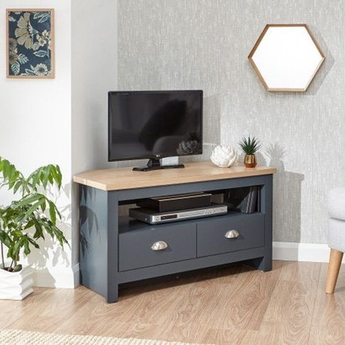 Valencia Wooden 2 Drawers Corner Tv Stand In Slate B...