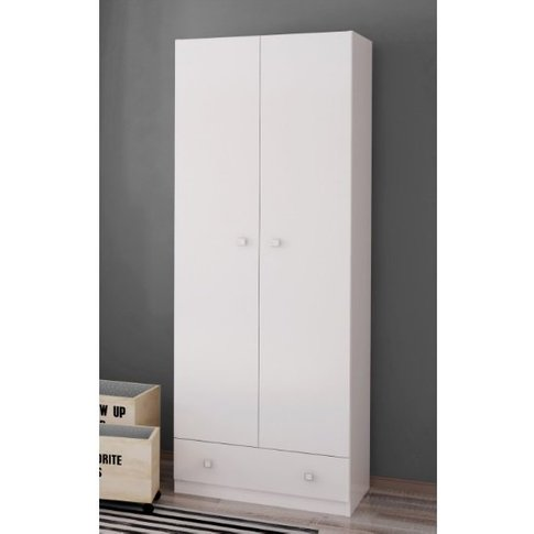Valerie Wardrobe In White With 2 Doors And 1 Drawer