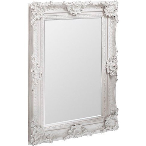 Valley Wall Mirror Rectangular In White With Baroque...