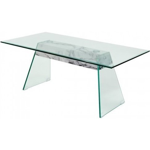 Vancouver Glass Coffee Table In Clear And Marble Eff...