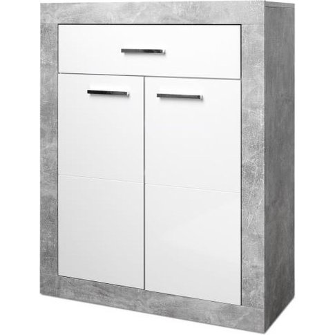 Varna Shoe Cabinet In Structure Concrete And Glossy ...