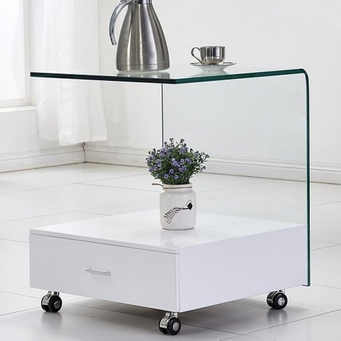 Vasari Glass Lamp Table In Clear With High Gloss Whi...