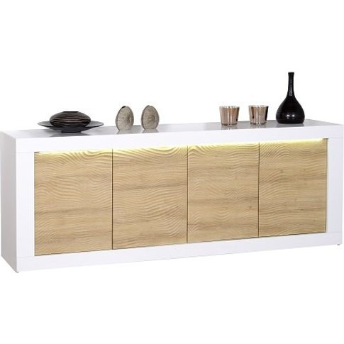 Metz Modern Sideboard In Oak And White Gloss With LE...
