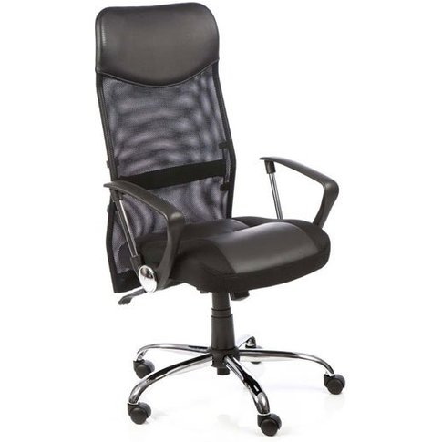 Vegas Mesh Office Chair In Black With Leather Seat A...