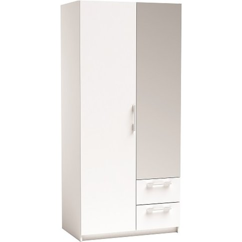 Vegas Mirrored Wardrobe In Pearl White And Linen Wit...