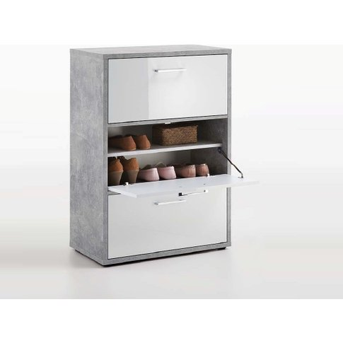 Veleso Shoe Cabinet In White High Gloss And Light Atelier