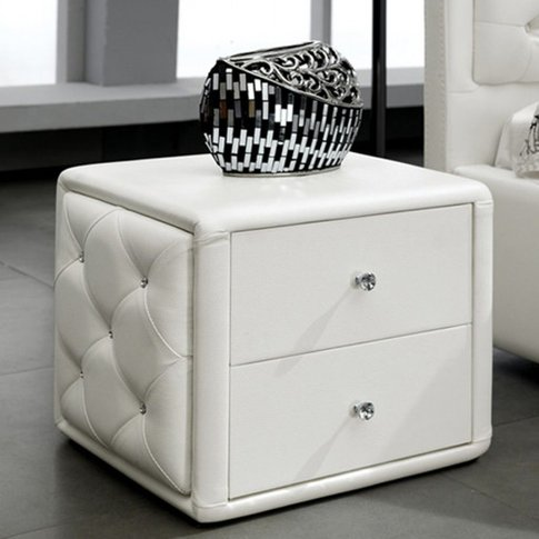 Velho Pu Leather Wooden Bedside Cabinet In White