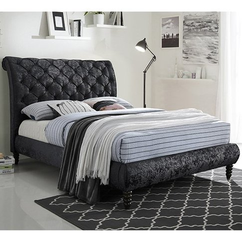 Venice Velvet Double Bed In Black With Black Wooden ...