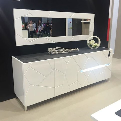 Venice Sideboard With Wall Mirror In White Gloss Wit...
