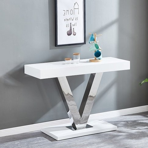 Vera Modern Console Table In White Gloss And Stainle...