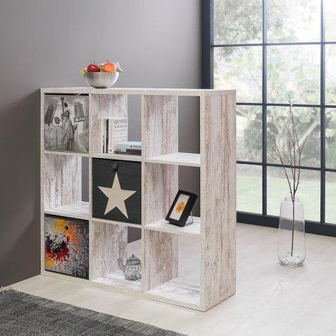 Version Shelving Unit Square In Fresco Oak With 9 Co...