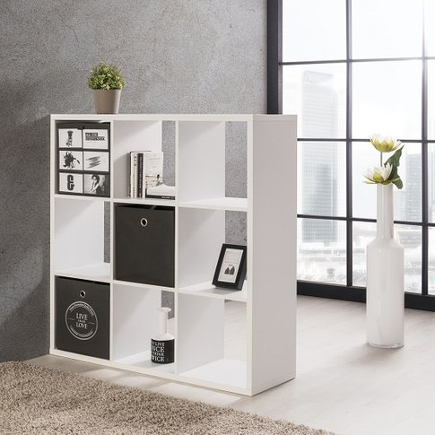 Version Shelving Unit Square In White With 9 Compart...