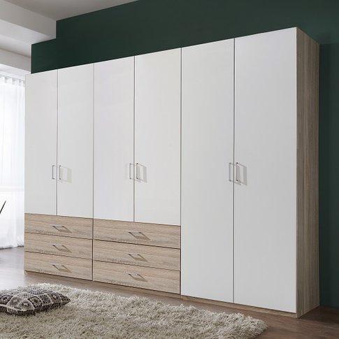 Vestra Wooden Wardrobe Wide In Oak Effect And White ...