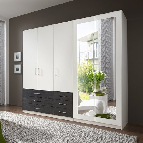 Vestra Mirrored Wardrobe In White And Black With 5 D...